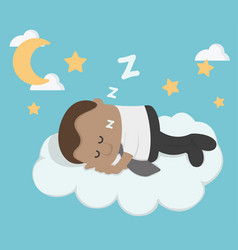 young african businessman sleeping on a cloud vector image