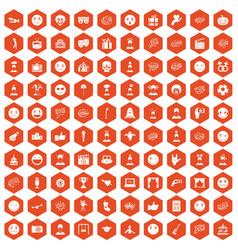 100 emotion icons hexagon orange vector image