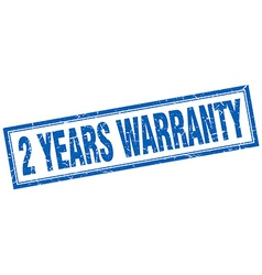 2 years warranty blue square grunge stamp on white vector