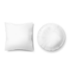 3d realistic pillows - square round vector image