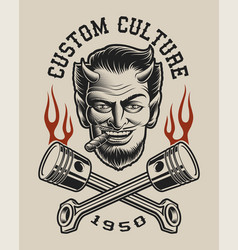 a devil with crossed pistons vector image