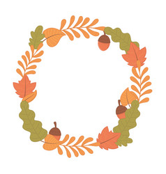 autumn foliage leaves wreath acorns vector image