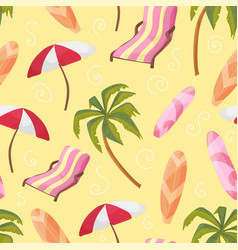 beach equipment loungers palm tree board vector image