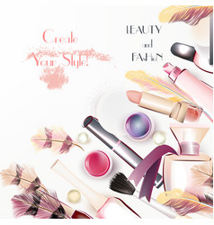 Beauty and fashion background with watercolor vector
