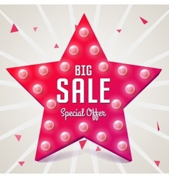 Big sale Pink star Sale retro banner vector image
