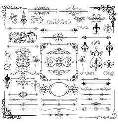 Black Hand Drawn Decorative Doodle Design Elements vector image