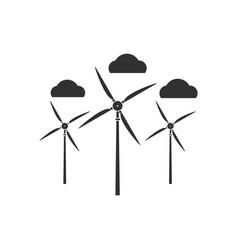 Black icon on white background three wind turbines vector