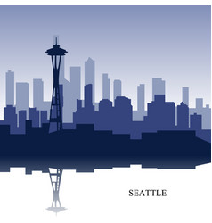 Blue cityscape of seattle wit text vector