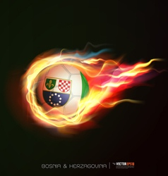 Bosnia Herzegovina flag flying soccer ball on fire vector