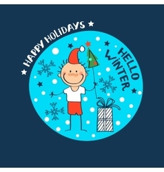 boy in a hat of Santa Claus vector image