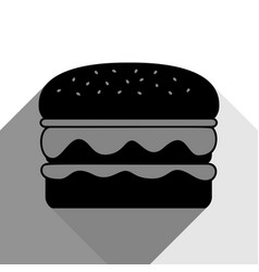 burger simple sign black icon with two vector image