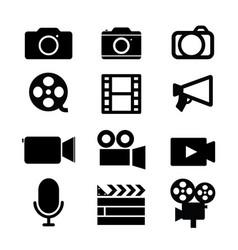 camera video studio media icon black vector image