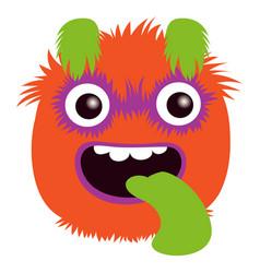 cartoon capital letter q from monster alphabet vector image