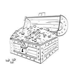 Cartoon image of treasure chest vector