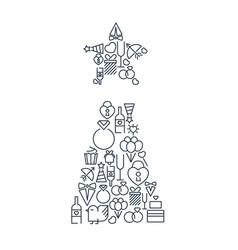 celebrating lined icons set vector image
