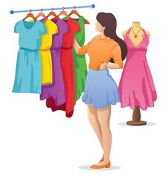 Choosing dress cartoon vector