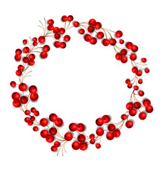 christmas wreath made red berries isolated on vector image