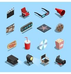 Cinema Movie Accessories Isometric Icons vector