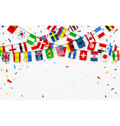Colorful flags garland different countries of vector