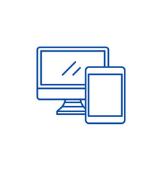 computer and tablet line icon concept computer vector image