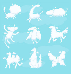 Cute animal clouds white silhouette set kid sweet vector
