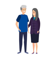 Cute grand parents couple characters vector