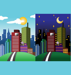 Day and night view of a modern city vector