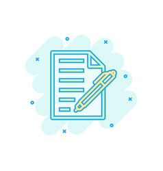 document with pen icon in comic style notepad vector image