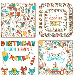 Doodles Happy Birthday Set vector image