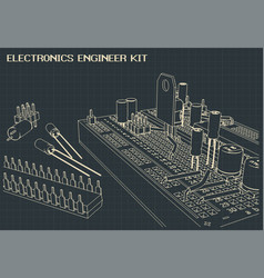 Electronics components outline vector