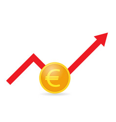 Euro coin and growth graph on a white background vector