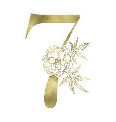 floral figure vintage decorative gold numeral vector image