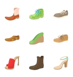 Footwear icons set cartoon style vector image