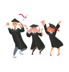 Gaduates in cap and gown throwing diplomas up vector