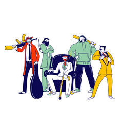 Group male gangster characters wearing costumes vector