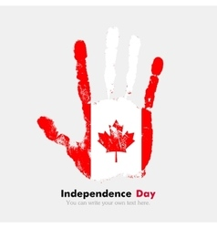 Handprint with the Flag of Canada in grunge style vector