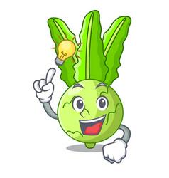 Have an idea fresh cabbage kohlrabi on the mascot vector