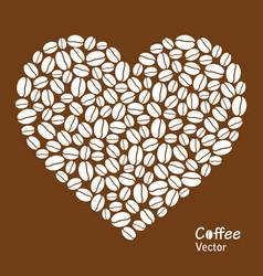 Heart made coffee beans vector