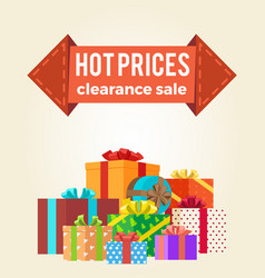 hot prices discounts clearance sale arrow label vector image