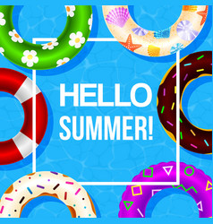inflatable swimming ring poster with hello vector image