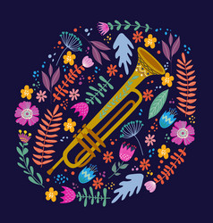 isolated trombone and bright leaves and flowers on vector image