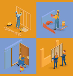 isometric interior repairs icons set worker vector image