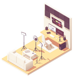 Isometric video blogger studio vector