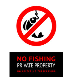 Label no fishing for print vector