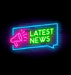 latest news neon on the wall with vector image