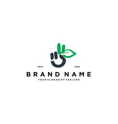 Leaf and hand logo design vector