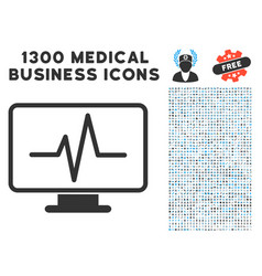 Line chart monitoring icon with 1300 medical vector