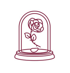 Line rose glass flask vector