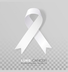Lung cancer awareness month white color ribbon vector