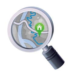 magnifying glass with map concept vector image